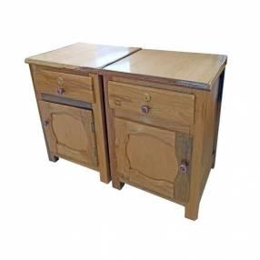 Mesa de luz de madera con cajón por unidad
