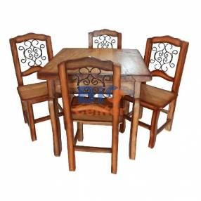 Juego de comedor rústico con 4 sillas