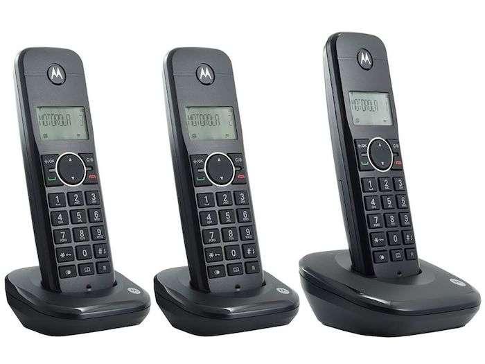 Teléfono Motorola 500ID 3 bases bivolt negro - 1