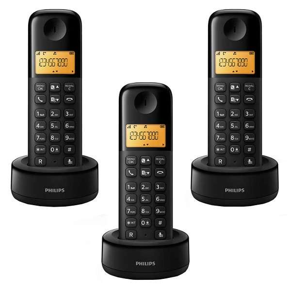 Teléfono sin cable Philips D1303B 3 teléfonos bivolt - 0
