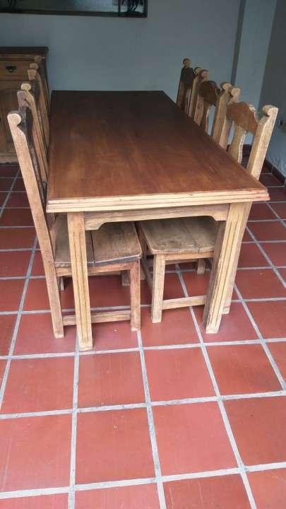 Juego de comedor rústico con 6 sillas de madera maciza - 1