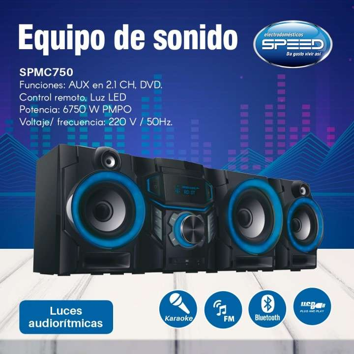 Equipo de sonido Speed 6.750W con USB bluettoth DVD - 0
