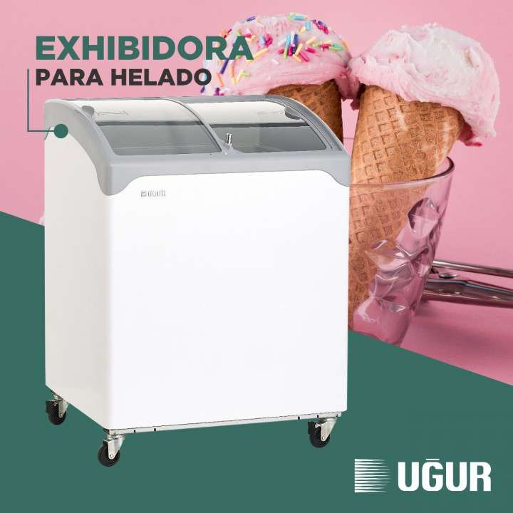 Exhibidora Ugur p/ helado UDD200SCEBN V/C 200L horizontal - 0
