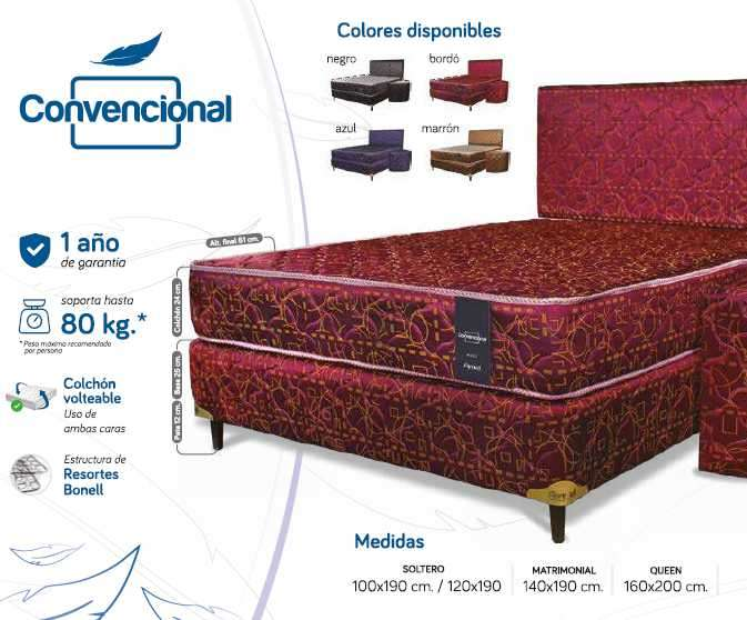 Sommier Lineal Convencional 100x190 - 0