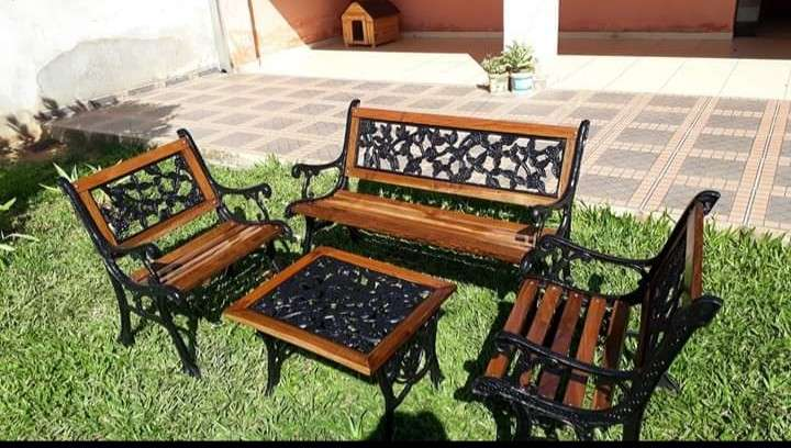 Juego de jardín cuadrillé hierro y madera - 1