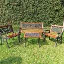 Juego de jardín cuadrillé hierro y madera - 0