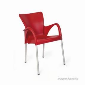 Silla fija Setu c/ posa brazo plástico rojo