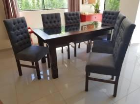 Juego de comedor Capitone 6 sillas tapizadas