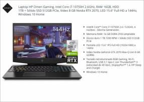 Notebook Hp Omen i7 RTX 2070