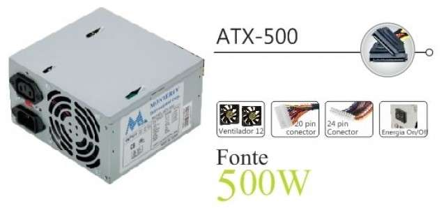 Fuente 500W MTEK (20+4 P) KT500 - 0