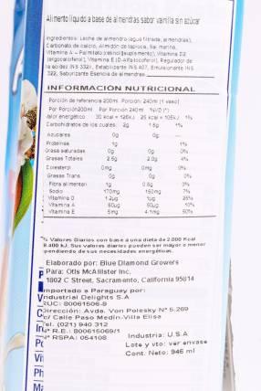 Leche de Almendras y Vainilla Blue Diamond -