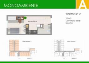 Departamento monoambiente en el Edificio Alborada