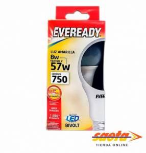 Foco led luz amarilla 8W Eveready