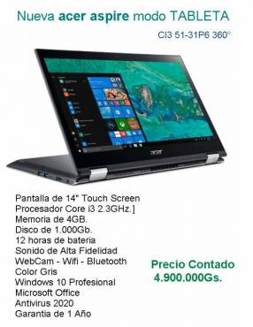 Notebook Acer Aspire modo tableta