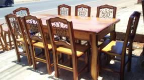 Juego de comedor rústico 8 sillas