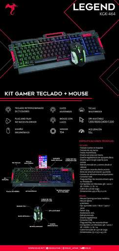 Kit gaming Kolke Legend teclado y mouse KGK-464 - 0