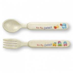 Tenedor y cuchara de fibra de bambú