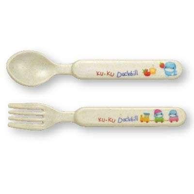 Tenedor y cuchara de fibra de bambú - 0