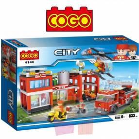 Estación de bomberos juego de construcción Cogo Blocks 833 piezas
