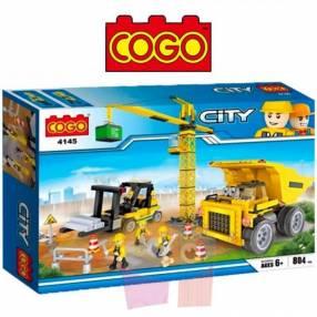Maquinaria de construcción juego de construcción Cogo Blocks 804 piezas