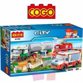 Set ambulancia, bomberos y camión juego de construcción Cogo Block 617 piezas
