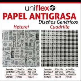 Papel antigrasa con diseños genéricos
