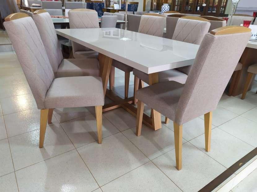 Juego de comedor 6 sillas madera y vidrio templado Mara Daysi tapizado Nugar - 4