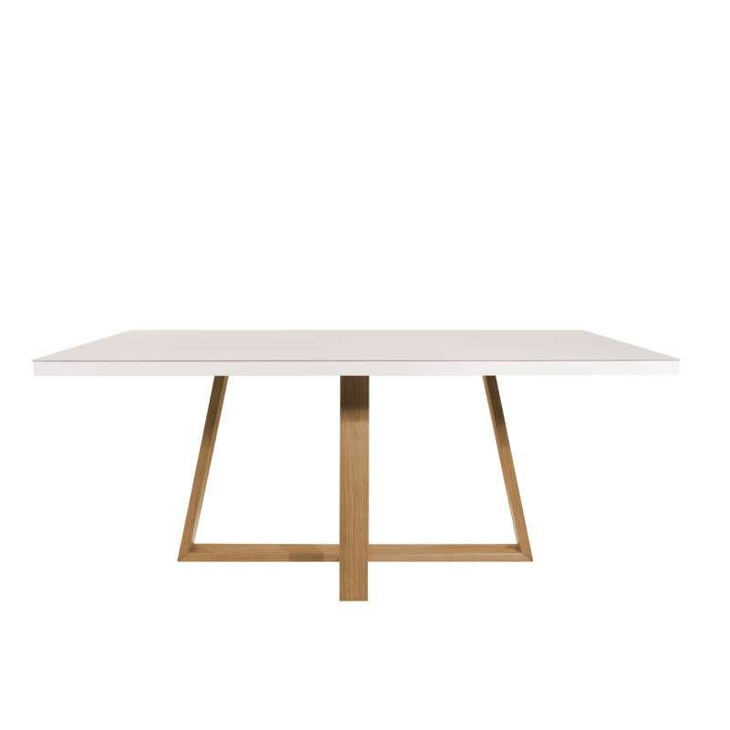 Juego de comedor 6 sillas madera y vidrio templado Mara Daysi tapizado Nugar - 1