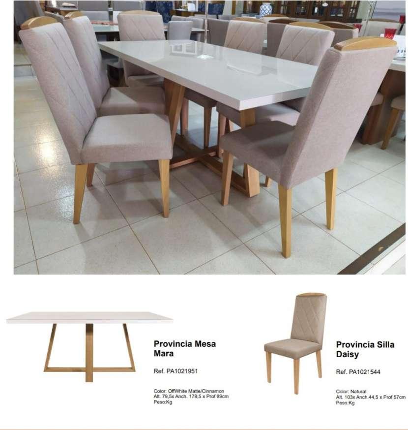 Juego de comedor 6 sillas madera y vidrio templado Mara Daysi tapizado Nugar - 3