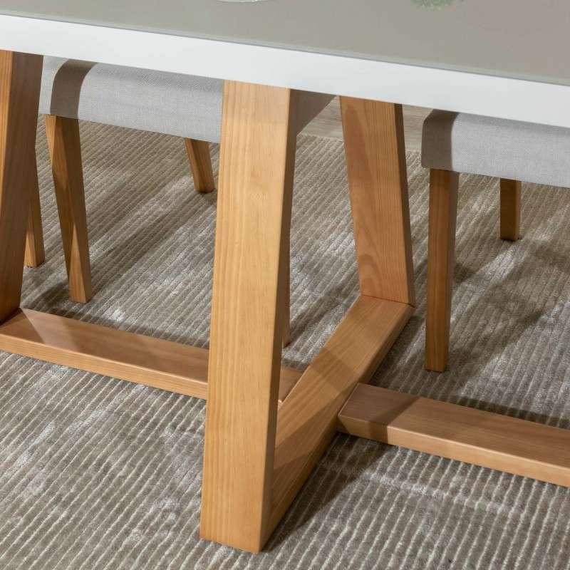 Juego de comedor 6 sillas madera y vidrio templado Mara Daysi tapizado Nugar - 0