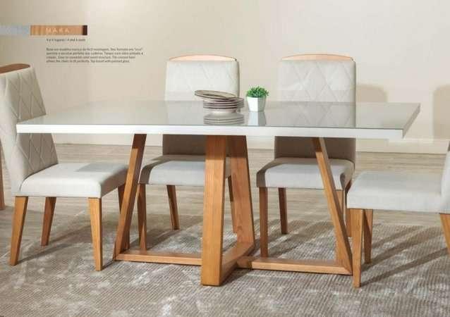 Juego de comedor 6 sillas madera y vidrio templado Mara Daysi tapizado Nugar - 2