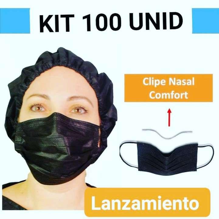 Kit tapaboca + protector cabeza negro descartables 10 unidades - 0