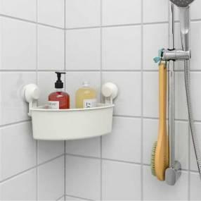Cesto esquinero con ventosa para baño blanco Tisken