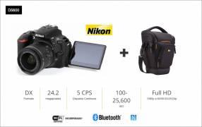 Cámara Nikon D5600 con bolso