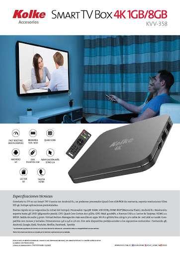 Convertidor smart tv box 4k kolke (kvv358) - 0