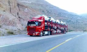 Scania 124 420 2002 con cigueña