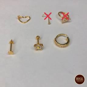 Piercings enchapados en oro y piercing fake