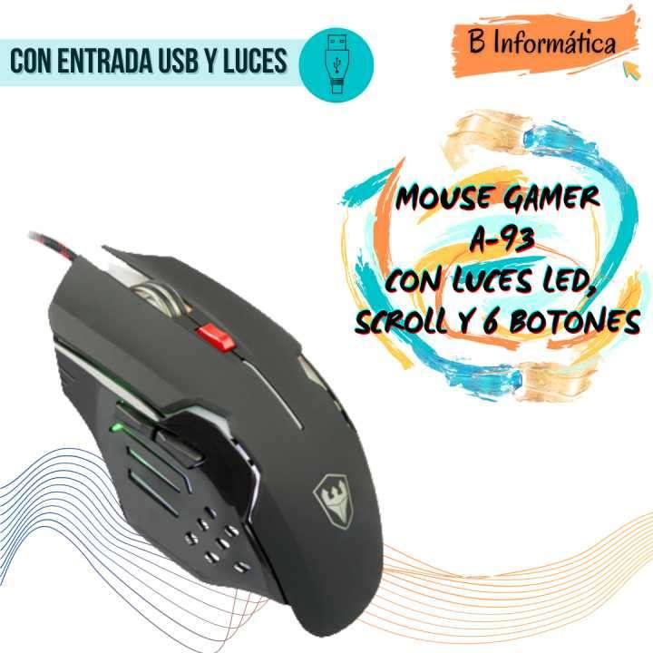 Mouse Gamer A-93 con luces - 0