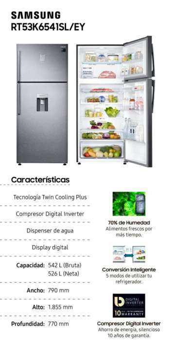 Heladera Samsung 534 litros Twin Cooling Plus RT53K6541SL/EY