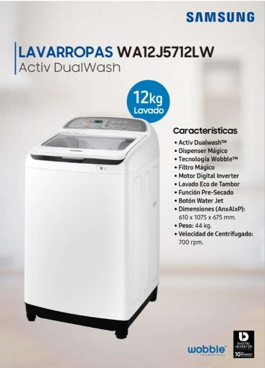 Lavarropas Samsung 12 kilos carga superior Active Dual Wash blanco - 0