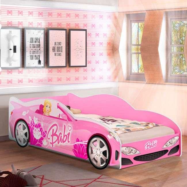Cama auto Babi Abba rosa sin colchón - 1