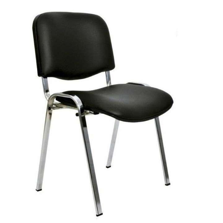 Silla fija pata cromada asiento acolchado - 0