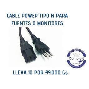 Cable power tipo n brasilero para cpu o monitores