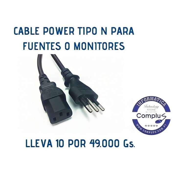 Cable power tipo n brasilero para cpu o monitores - 0