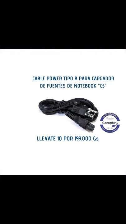 Cable power tipo B para cargador de fuentes de notebook C5