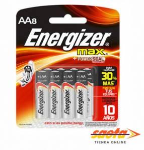 Pilas Energizer AA alcalina pequeña E91-BP8