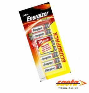 Pilas Energizer AA alcalina E91 blister 16 unidades