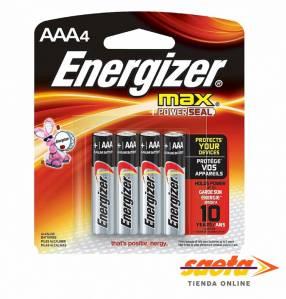 Pila alcalina Energizer AAA palito E92-BP4