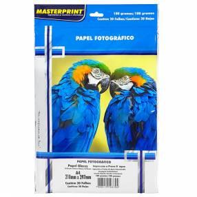 Papel foto masterprint a4 180gramos c/20 hojas