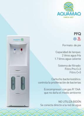 Bebedero dispensador Aquamaq PFQ frío caliente de pie blanco